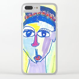 Crazy Face Blue Hair Clear iPhone Case