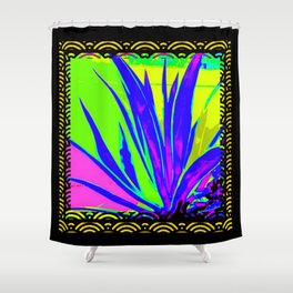 Colorful  Blue Tropical Foliage Black-Gold Color Abstract Shower Curtain