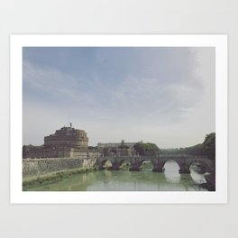 Castel St. Angelo Stands Guard Over the Tiber River - Rome, Italy Art Print