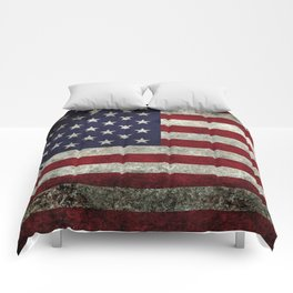 American Flag, Old Glory in dark worn grunge Comforters