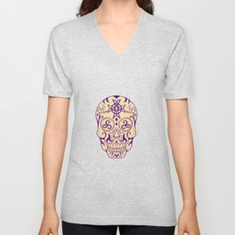 Mexican Skull  With Triskele and Celtic Cross Tattoo Unisex V-Neck