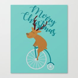 Mr Reindeer having Fun with his Penny-farthing Bicycle Canvas Print