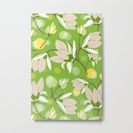 Magnolia Blossom Greenery Metal Print