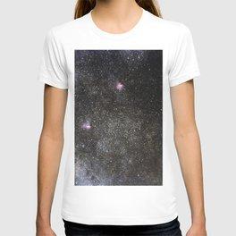 Starry sky with millions of stars, Milky Way galaxy, Eagle nebula, Omega nebula T-shirt
