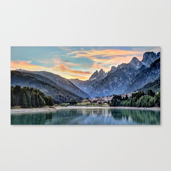Mountain & Lake Sunset Canvas Print