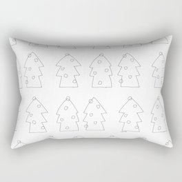Merry Christmas Ho Ho Ho - holiday illustration black and white simple design Rectangular Pillow