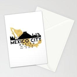 MEXICO CITY MEXICO SILHOUETTE SKYLINE MAP ART Stationery Cards