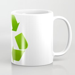 Green Recycle symbol on white background Coffee Mug