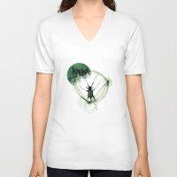 kafka V-neck T-shirts featuring Kafka Hommage by Hellbunt