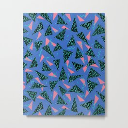 Tina - 80s Triangle print, bright tri blue memphis design, memphis triangle Metal Print