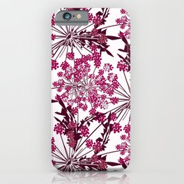 Laced crimson flowers on a white background. iPhone Case