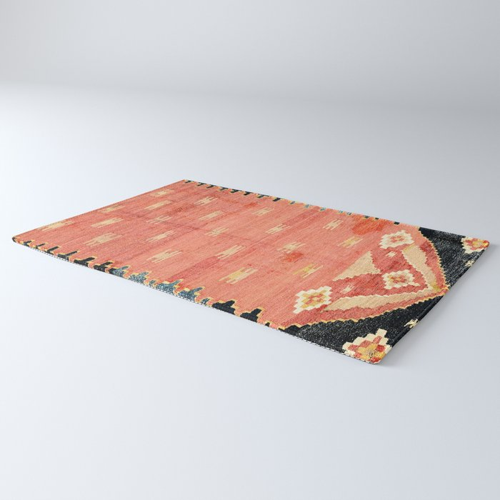 South West Anatolia  Antique Turkish Niche Kilim Print Rug