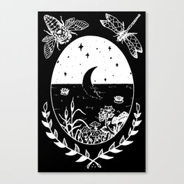 Moon River Marsh Illustration Invert Canvas Print