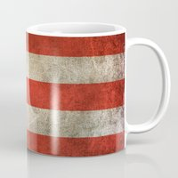 puerto rico Mugs featuring Old and Worn Distressed Vintage Flag of Puerto Rico by Jeff Bartels