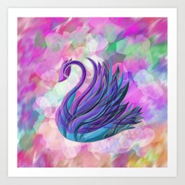 Swan on Blur Art Print