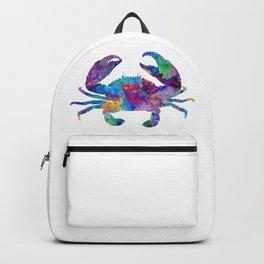 Crab Art Colorful Sea Life Artwork Watercolor Gift Backpack
