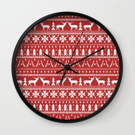 Deer christmas fair isle camping pattern snowflakes minimal winter seasonal holiday gifts Wall Clock