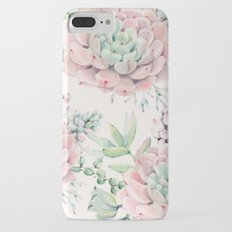 Pink Succulents on Cream iPhone 7 Plus Slim Case