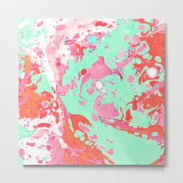Abstract Red & green painting Metal Print