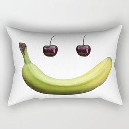 Funny real fruit smiley face Rectangular Pillow