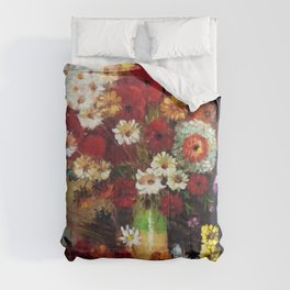 Red Poppies, Dahlias, Daises, Begonia, Parrot Tulips in Vase Tuscany Still Life by Vincent van Gogh Comforters