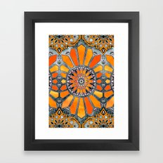 Celebrating the 70's - tangerine orange watercolor on grey Framed Art Print