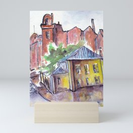Houses in old town by watercolor Mini Art Print