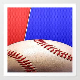 Baseball Sports on Blue and Red Art Print
