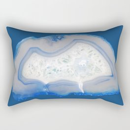 agate, quartz, crystal stone cornflower blue, royal blue, cobalt, gray Rectangular Pillow