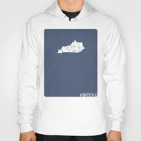 kentucky Hoodies featuring Kentucky Minimalist Vintage Map by Finlay McNevin
