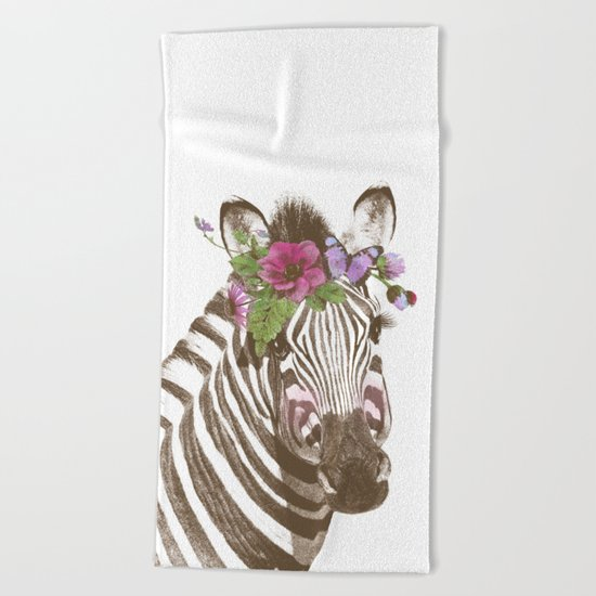 Zebra with flowers Beach Towel