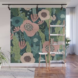 Lush Colourful Floral Green Jungle Pattern Wall Mural