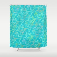 tapestry Shower Curtains featuring Tapestry  by FYLLAYTA, surface design,Tina Olsson