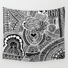 Love Doodle Wall Tapestry