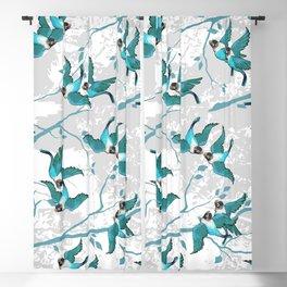 Lovebirds — Teal • Gray Blackout Curtain