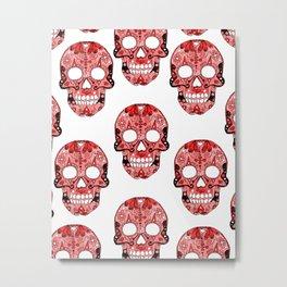 Red Skulls Pattern Metal Print