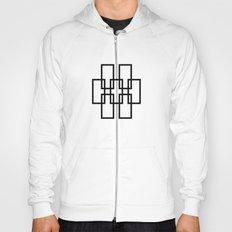 White outline rectangles on black Hoody