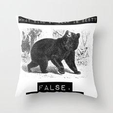 false. black bear Throw Pillow