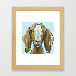 Goat Art, Cute Farm Animal Painting Framed Art Print