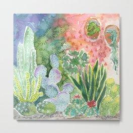 Cactus at Night Watercolor Metal Print