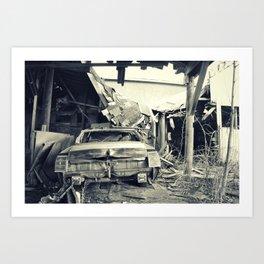 Barn Crash black and white Art Print