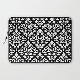 Scroll Damask Big Pattern White on Black Laptop Sleeve