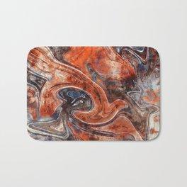 Orange marble watercolor Bath Mat
