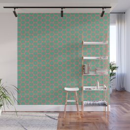 Minty Salmon Pink Background Green Circles Wall Mural
