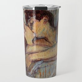 IN BED, THE KISS - HENRI DE TOULOUSE LAUTREC Travel Mug
