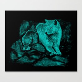 Wolf and Raven in the Night Canvas Print