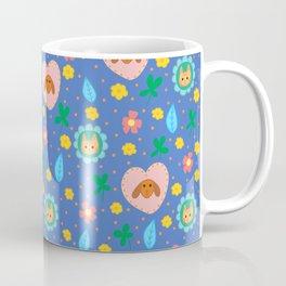 Flowery Dog and Cat Coffee Mug