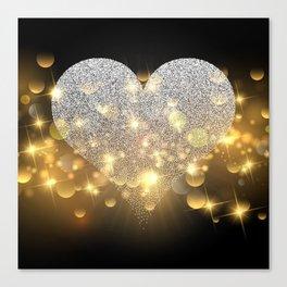 Valentine's Day, Glitter Heart, Gold Sparkle Canvas Print