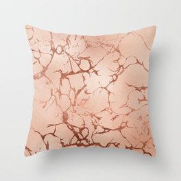 Modern abstract rose gold glitter stylish marble Throw Pillow