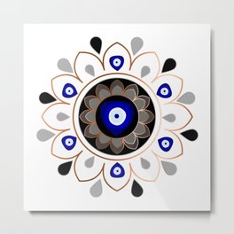 Copper Evil Eye Mandala Metal Print